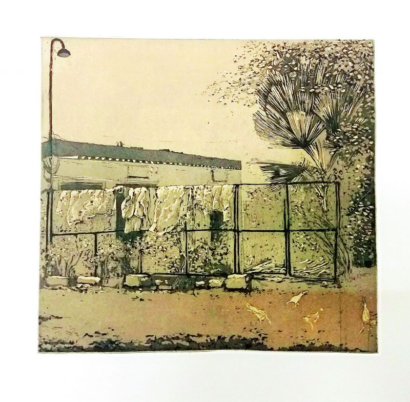 Marjan's etching print inspired by the Banyan Hearts studio.
