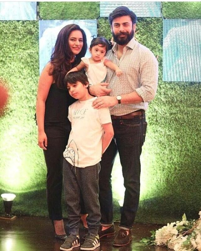 Fawad Khan with wife Sadaf, son Ayaan and daughter Elayana.