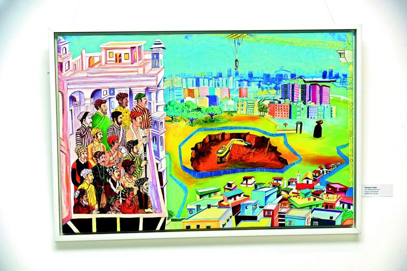 An artwork by Sukalyan Dutta on display.