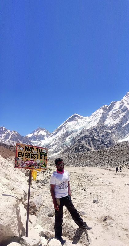 Anenthu Sukumaran on his way to the Everest base camp