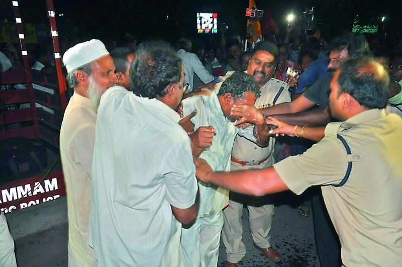 Venkateshwarachari, who attempted self-immolation in Khammam on Saturday.