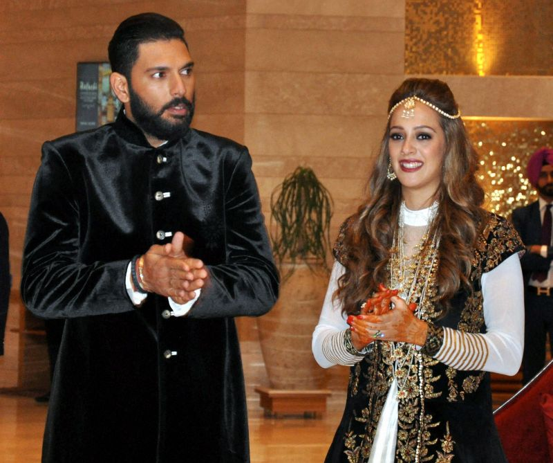 Yuvaj Singh and Hazel Keech after their ring ceremony. (Photo: PTI)
