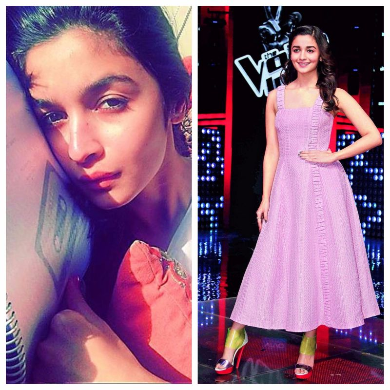 (Left) Alia Bhatt goes make-up free, (right) the actress looks stunning with make-up