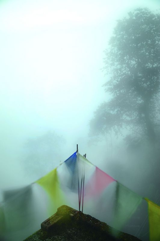 Fluttering prayer flags in Darjeeling.