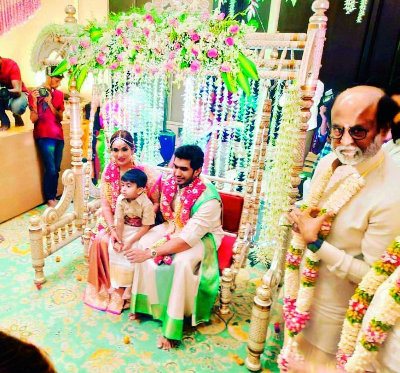 Newly-wed couple Soundarya and Vishagan with her son Ved Krishna.