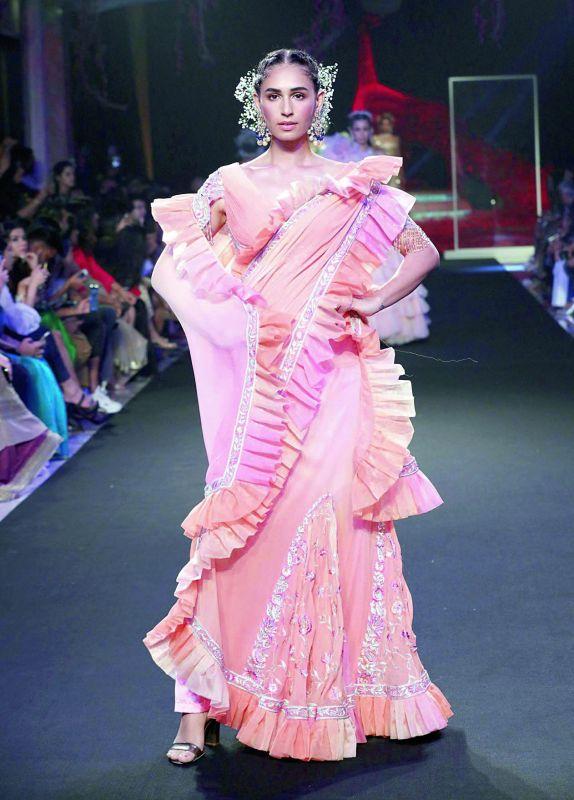 A pleated saree by Suneet Varma