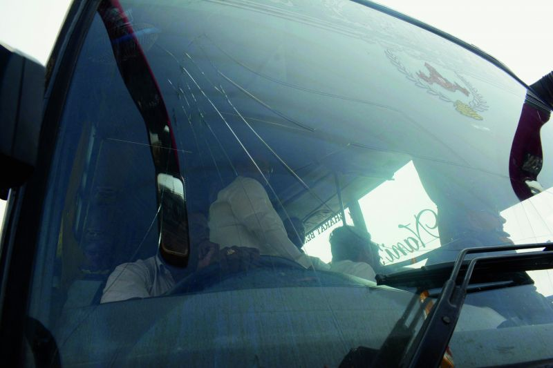 The windscreen of the bus in which TD president N. Chandrababu Naidu was travelling suffers a crack after it was pelted with stones. (Photo: DC)