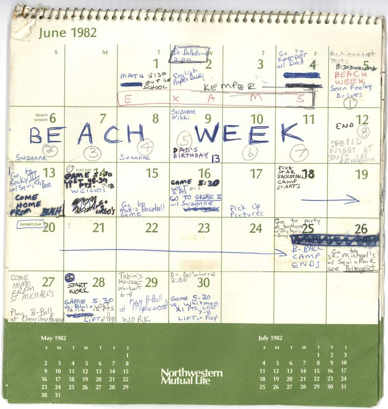 This image released by the Senate Judiciary Committee Wednesday Sept. 26 2018 in Washington shows Supreme Court nominee Judge Brett Kavanaugh's calendar from the Summer of 1982