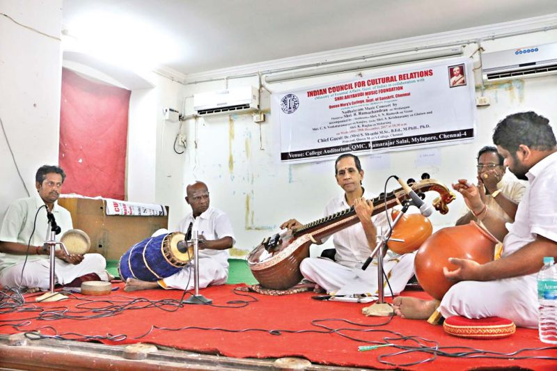 Well-known artiste Mudikondan S.N. Ramesh playing veena  at QMC college, in the city, on Wednesday.(Photo: DC)