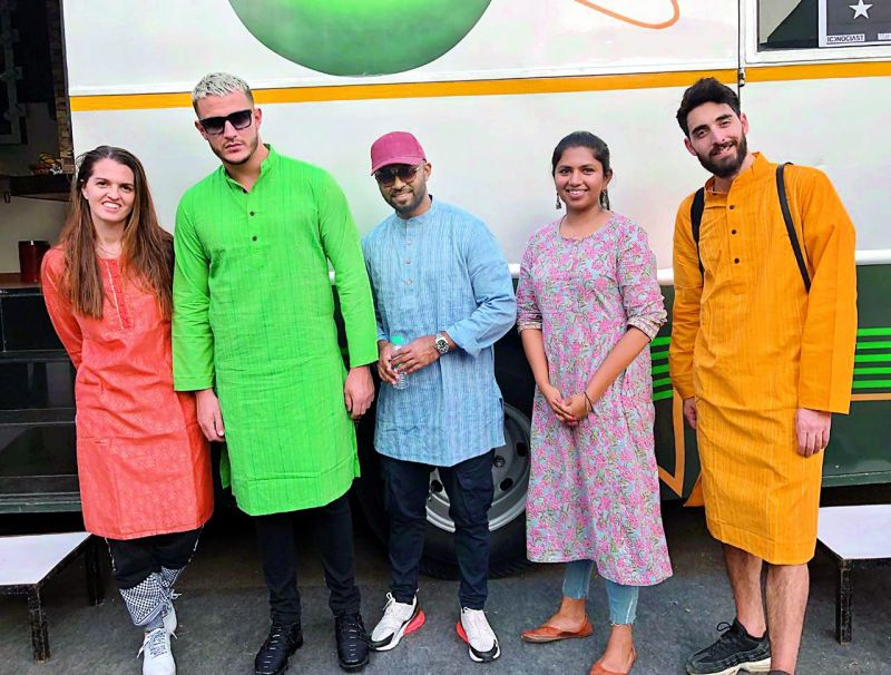 Julie (his manager), DJ Snake, Shammi (his best friend), Neerja Kona and a crew member while shooting in the city.