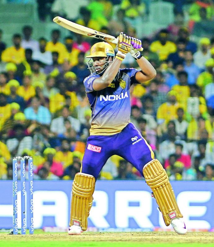 Andre Russell of Kolkata Knight Riders plays a shot on way to his half-century against Chennai Super Kings in Chennai on Tuesday.