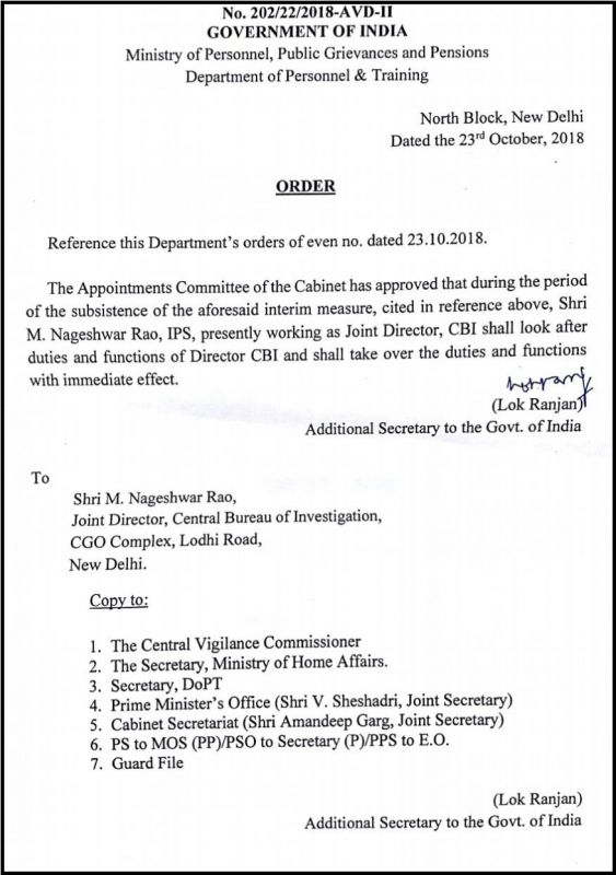 Government order put out late on Tuesday.