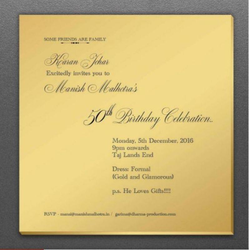 Manish Malhotra birthday invitation card