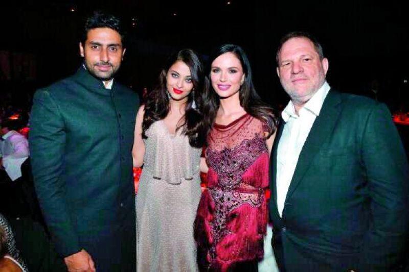 Abhishek and Aishwarya Rai Bachchan with Harvey Weinstein