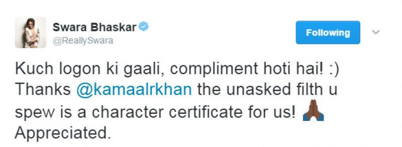 Kamaal Rashid Khan calls Swara Bhaskar's film a 'disaster', her reply is epic