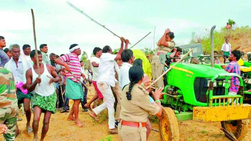An attack on uniformed personnel of the state is an attack on the state itself. a Lady Forest Range Officer in Kagaznagar Telangana beaten mercilessly for compensatory afforestation in Sarsala village by the brother of the local MLA Koneru Krishna and goons in police presence.