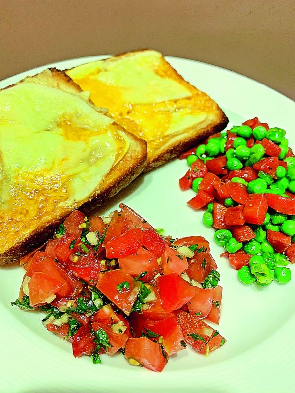 Cheese toast with salad & sautéd vegetables