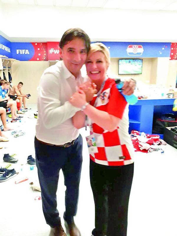 Kolinda also paid a visit to the team's locker room. She hugged each player and posted the videos on social media.