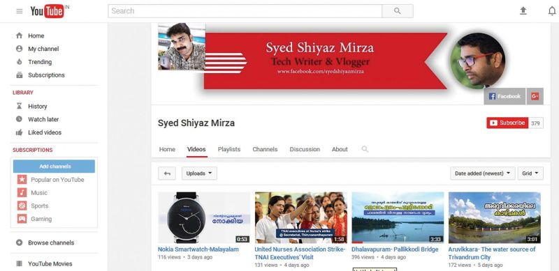 Syed's YouTube channel is updated with videos on travel, technology, education and employment.