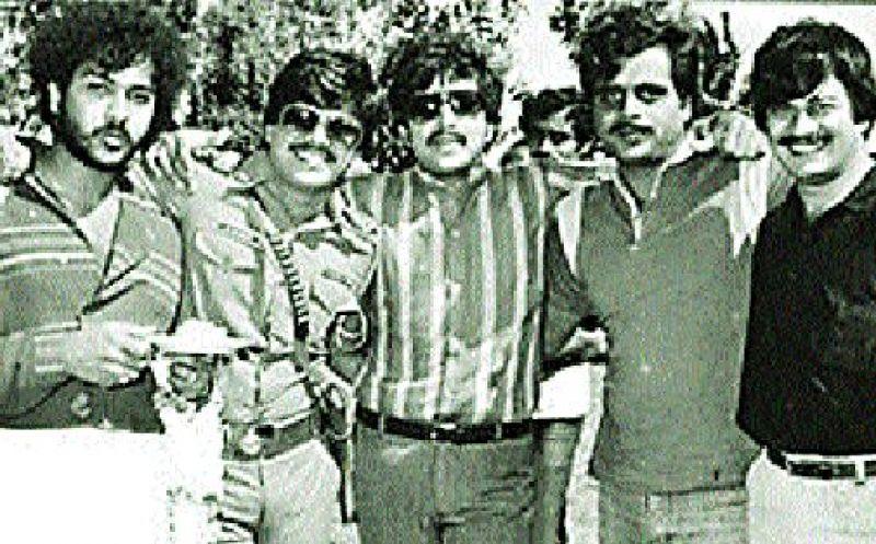Ambareesh (second from right) with actors Ravichandran, Shankar Nag, Dr Vishnuvardhan and Anant Nag
