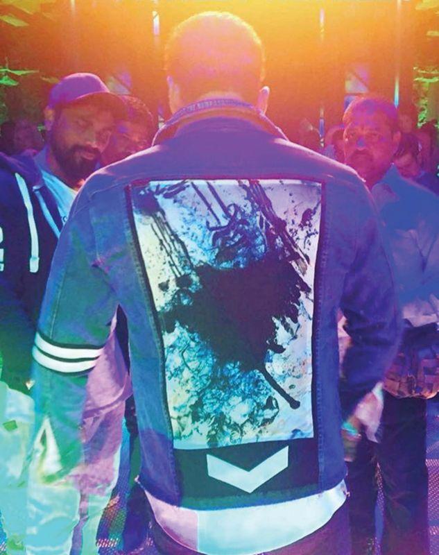 Salman Khan wearing the denim jacket designed by Jishad.