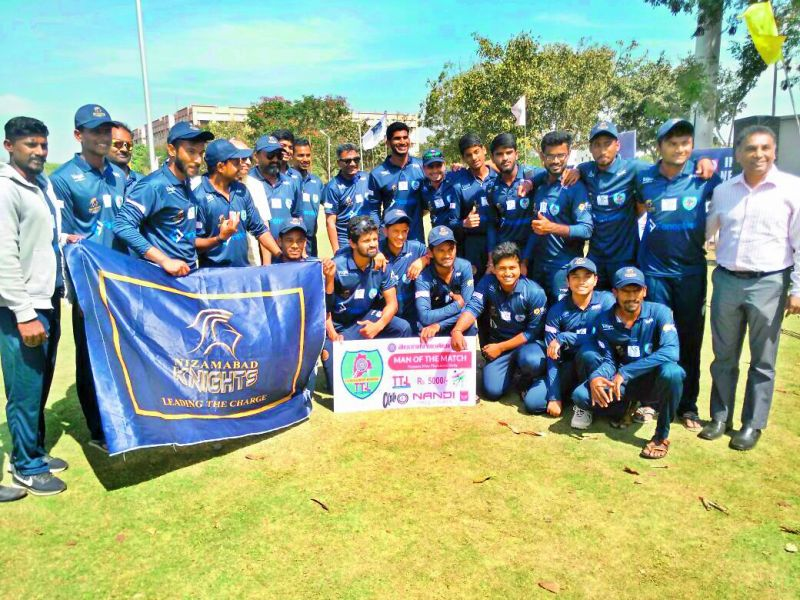 Nizamabad Knights are jubilant after beating Hyderabad Sreenidhian Thunderbolts by four wickets.
