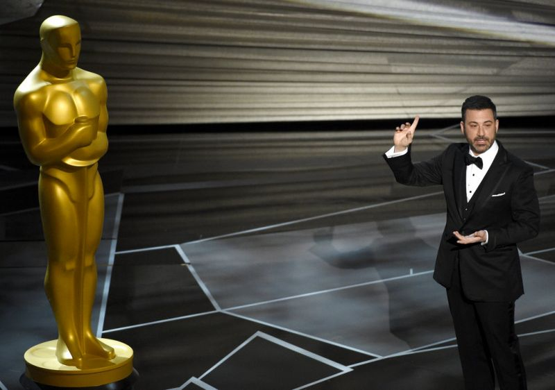 Host Jimmy Kimmel speaks at the Oscars . (Photo: AP)