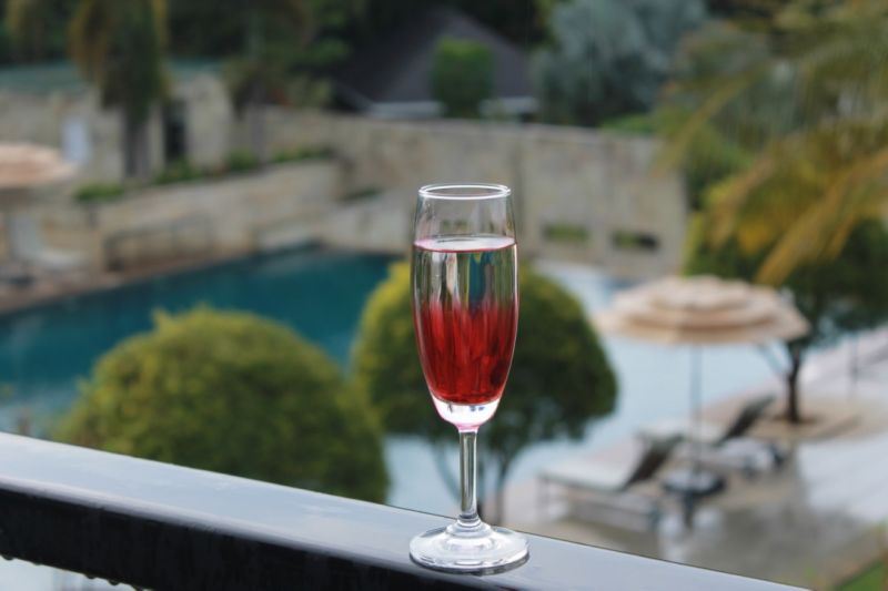 Glass of wine at the resort (Photo: Mousumi Kar)
