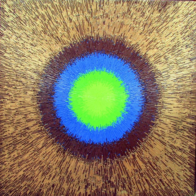 Neetu Singhal's works are vibrantly hued, thick impasto strokes imbibe a tactile quality and appeal. The geometric, simplified compositions look like mandalas and the embedded textural aspect initiates a sense of flow of energy. Amazingly, a few of her works resemble microorganisms when seen from the lens of a microscope.