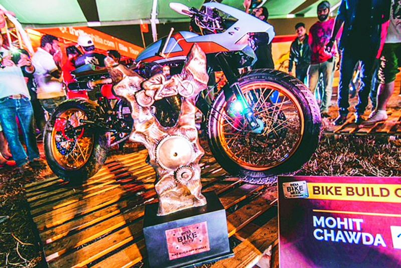 The trophy that Mohit won for being the best in the Bike Build Off  competition.