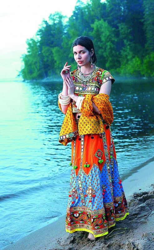 A Russian model decked up in the traditional 'Lambadi' attire and accessories clicked by Sreesailam