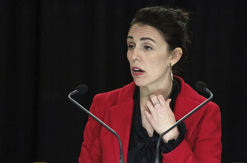 Prime Minister of New Zealand Jacinda Ardern speaks to the media with her engagement ring on her left hand during her post cabinet press conference in Wellington. (Photo:AP)