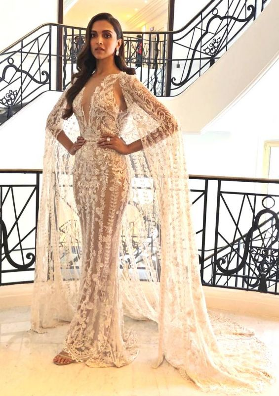 Deepika Padukone's ethereal cape gown by Zuhair murad at the 2018 Cannes International Film Festival. (Photo: Instagram/deepikapadukone)