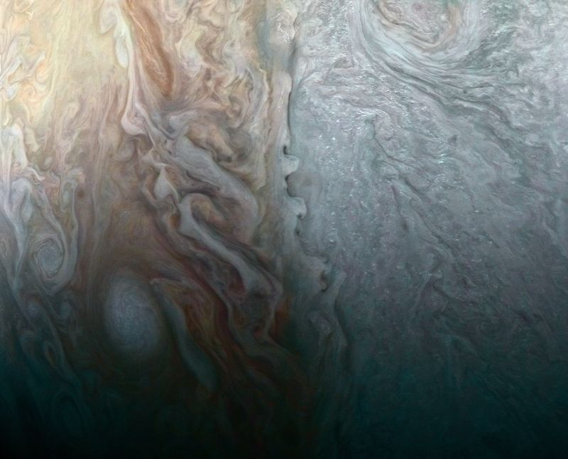 This image, taken by the JunoCam imager on NASA's Juno spacecraft, highlights a feature on Jupiter where multiple atmospheric conditions appear to collide. (Photo:NASA)