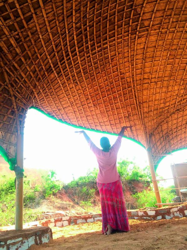 A fascinating bamboo structure — Leheriya — the raising wave was built by the Progressive Telangana Foundation at Our Sacred Space, Dharur.