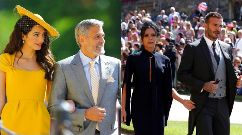 Amal Clooney and George Clooney were seen arriving for the wedding ceremony of Prince Harry and Meghan Markle. Victoria and David Beckham too were in attendance.