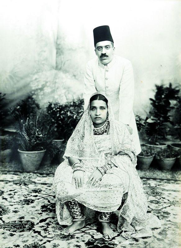 Mir Osman Ali Khan with his wife Shah Taj Gauhar Begum Sahiba. Chowmahalla Palace Collection, Hyderabad, c. 1910,