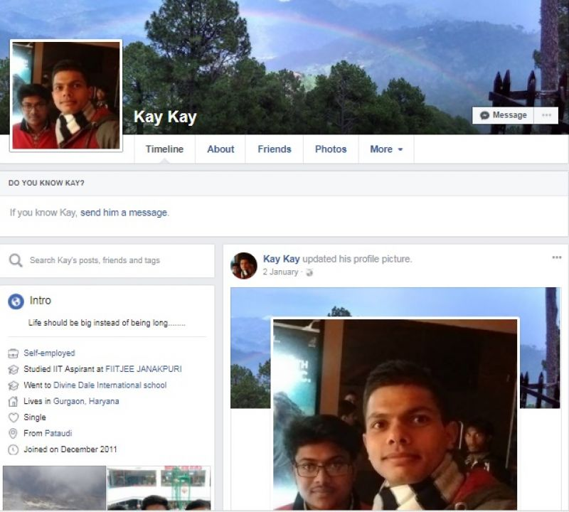Army Captain Kapil Kundu's Facebook profile. (Photo: Screengrab)