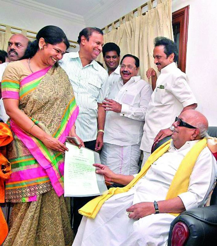 Success in the family: DMK's Karunanidhi has successfully passed on his power to his son M.K. Stalin and daughter Kanimozhi.