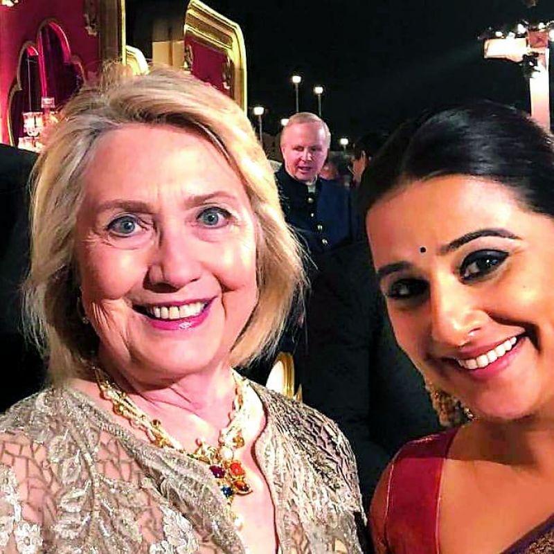 Hillary Clinton with Vidya Balan.