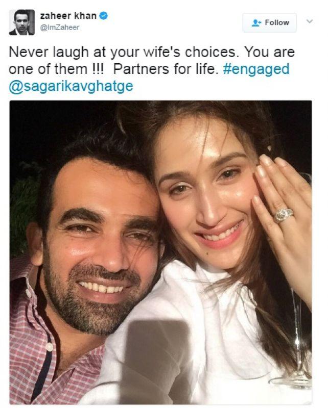 Zaheer Khan, Sagarika Ghatge, Twitter, Zaheer Khan Sagarika Ghatge engagement
