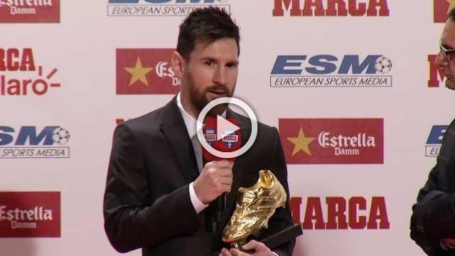 Lionel Messi receives his fourth Golden shoe