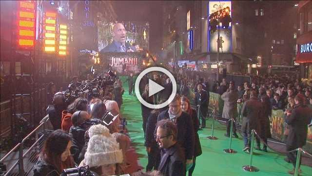 Kevin Hart jokes about Dwayne Johnson's Hollywood star at 'Jumanji' premiere
