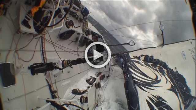 Boat crew battle rough seas in Southern Ocean during Volvo Ocean Race