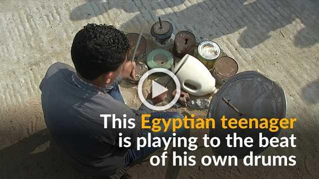 Egyptian teenager dreams of being a professional drummer