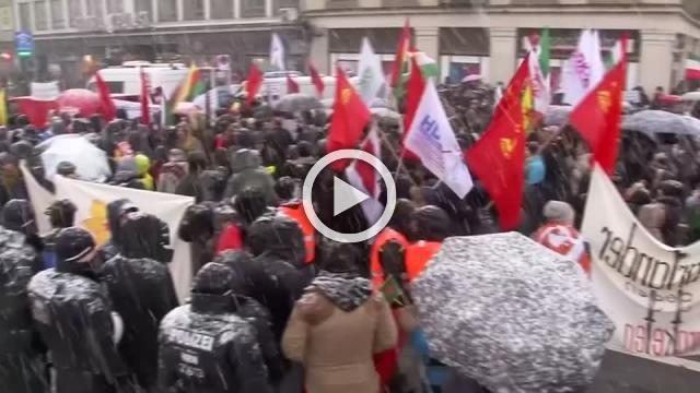Thousands of demonstrators protest around Munich Security Conference venue, against 'weapons deals'