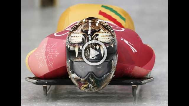 Helmet art decorates skelton contest at Olympics