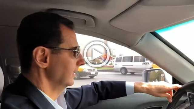 In the front seat with Assad as he tours territory retaken from rebels