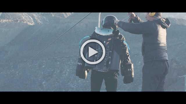 Man rides world's fastest zip-line in human propulsion jet suit