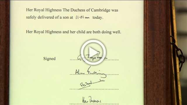 Buckingham Palace easel confirms birth of a prince